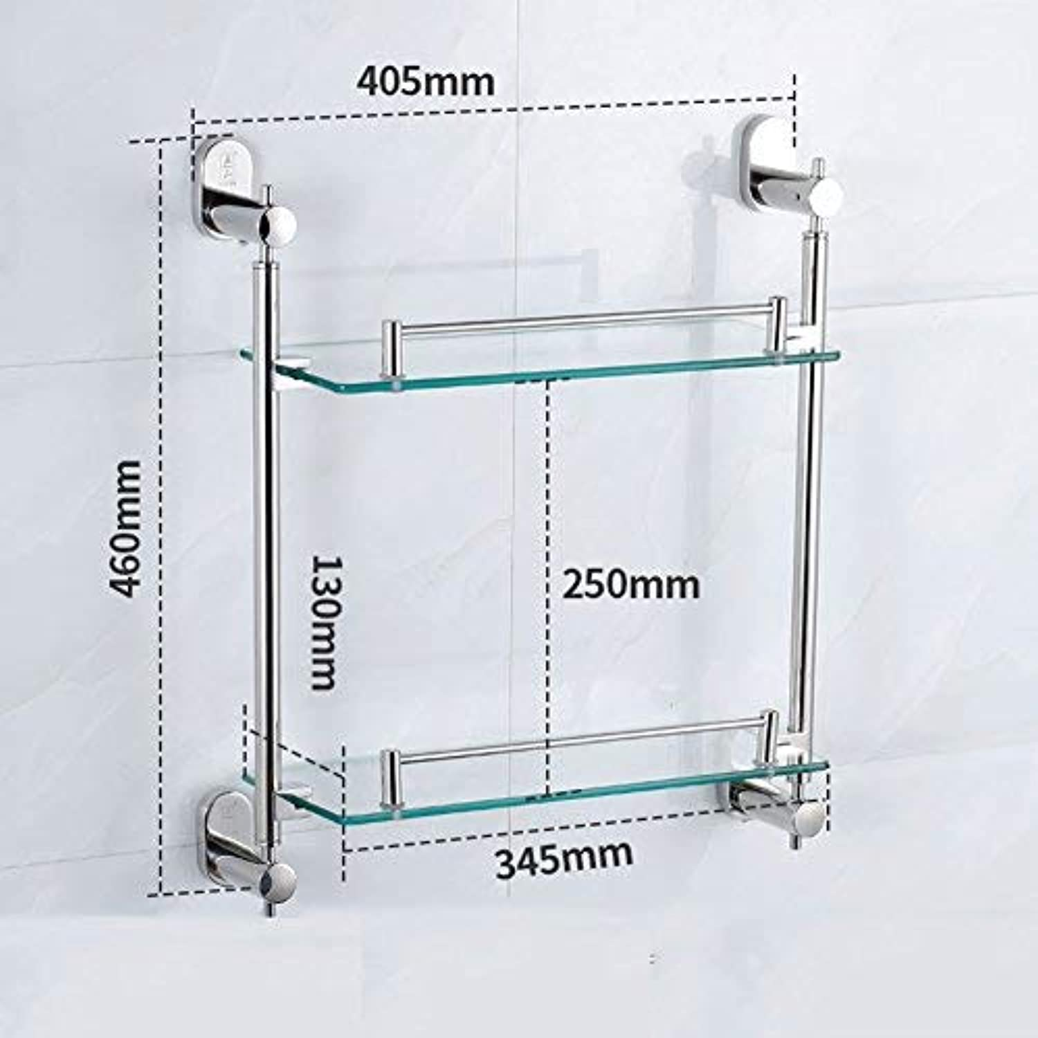 BAIF Bathroom Shelf 304 Stainless Steel 2 Layers 6mm Tempered Glass Surface Polished Easy to Clean