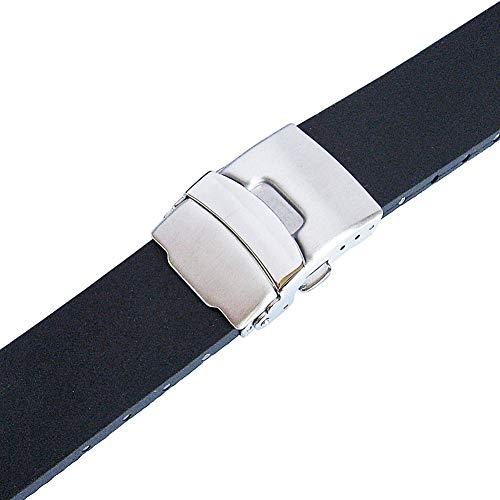 Bonetto Cinturini 20mm Black Rubber Watch Strap Model 300L