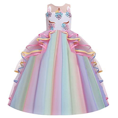 FMYFWY Costume Carnevale Unicorno Principessa Ragazze Compleanno Cerimonia Arcobaleno Lungo Maxi Tulle Vestito Senza Maniche Natale Halloween Cosplay Festa Abiti Multicolore 6-7