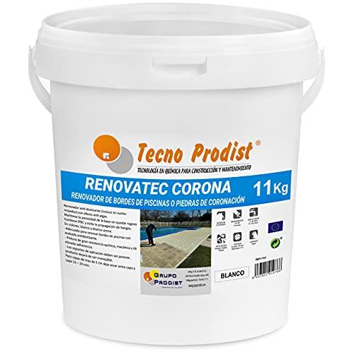 RENOVATEC CORONA de Tecno Prodist - ( 11 kg ) BLANCO Pintura renovación bordes de piscinas o piedra de coronación - Antideslizante - Antialgas - Fácil Aplicación