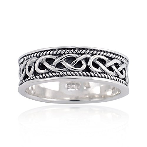 925 Oxidized Sterling Silver Woven Celtic Knot Rope Edge Eternity Band Ring Unisex Size 7