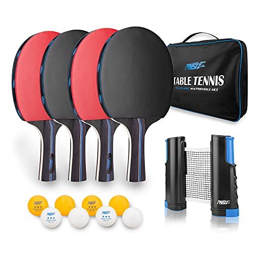 PHYSIZZ Ping Pong Paddle Set - 4 Player Bundle, Pro Premium Table Tennis Racket Set, with 4 Racquet, Good Spin 8 Balls, Retractable Net, Portable Storage Case, Complete Set for Indoor or Outdoor Play