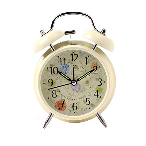 DLILI Despertadores Luminosos Despertadores Despertador Fuerte con luz Despertador de Metal Despertador silencioso para la cabecera Sala de Estudio Reloj Adornos Beige