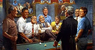 Peck & Gartner Andy Thomas Callin The Red Democratic Presidents Playing Pool (Paper Size 19w x 13h Image Size 17w x 11h)