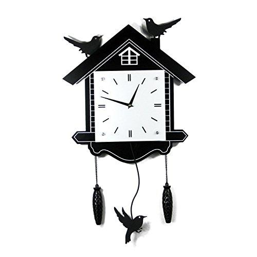 DHGY- Art mural horloge oiseau balançoire en bois pendules et horloge créative (sans batterie) 45 * 40cmCadeau de cadeau de Noël de vacances d'ami cadeau