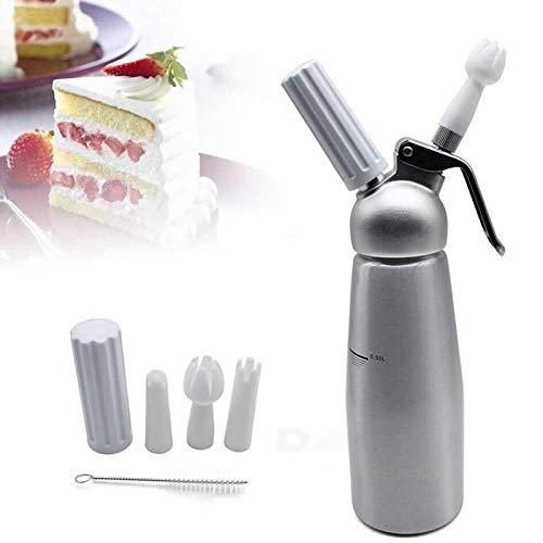 DaoRier 500ml Sahnespender,Profi Sahnesyphon aus Aluminium,mit 3 Düsen,für Schlagsahne,Cremes und Soßen (Silber) Zur Herstellung von Mokka-Kaffee, Obstsalat und Erdbeereis