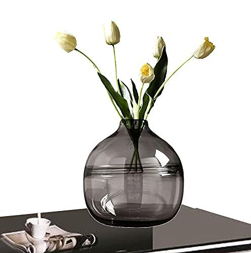 LXLAMP Jarron, jarrones Cristal jarrones Decorativos Modernos jarrones Decorativos de Suelo Jarrones de Flores, Elegante Decoración para la Decoración del Escritorio - Altura 20 cm (Color : Gray)