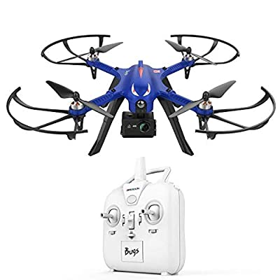 DROCON Bugs 3 Brushless Motor Drone, RC Quadcopter 2 speeds for Beginners and Experts with Long Working Time & Long Control Range, 3D ROLLS & FLIP Supports GoPro HD Camera Blue