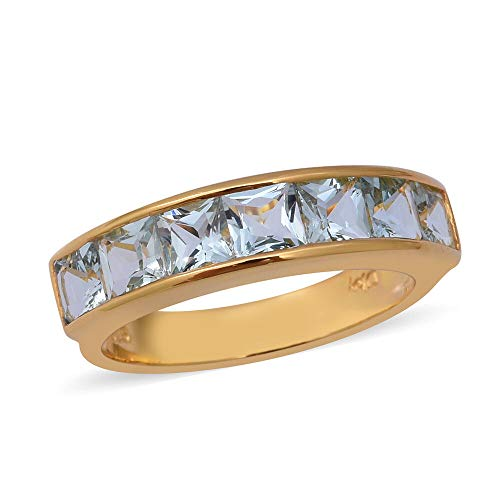 TJC Half Eternity Aquamarine Ring for Women Yellow Gold Plated 925 Sterling Silver Size P, 2.03 Ct