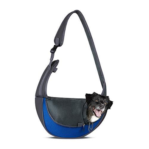 Funkprofi Haustier Umhängetasche, Haustier Schultertascche, Haustier Tragetasche für Hunde Katzen Hundetasche Outdoor Reisen Hunderucksack (Blau S)
