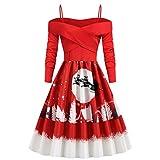 Femme Robes Noel Vintage Manches Longues A - Ligne Dress Girls Vintage à Manches Courtes VêTements De Club...