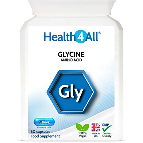 Glycine 500mg 60 Capsules (V) Vegan Capsules for Energy, Fatigue and Sleep Quality. Made by Health4All