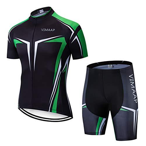 X-Labor Herren Radtrikot Set Atmungsaktiv Schnelltrockend Jersey Shirts Kurzarm + Radhose mit 3D Sitzpolster MTB Fahrradbekleidung Motiv-5 3XL
