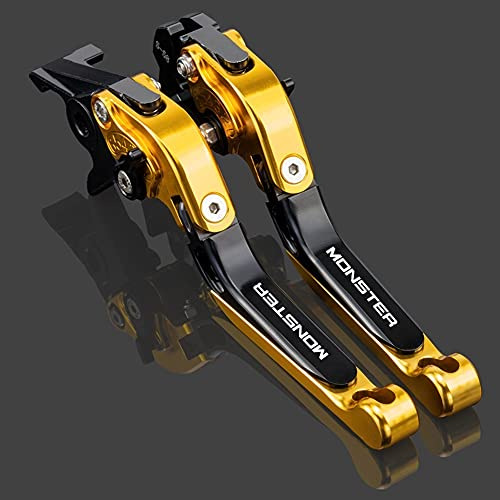 Palancas de embrague de freno de motocicleta, 1 par de aluminio CNC 6 Posición Plegable ajustable Ajustable Accesorios de Motorbike Aparcamiento Manija para Ducati Monster ST2 M 400 600 620 750 919 79