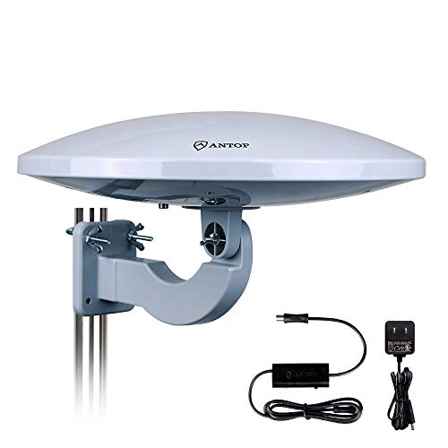 ANTOP New Generation UFO Outdoor TV Antenna 360 Omnidirectional Reception,Exclusive Smartpass Amplifier and Build in 4G LTE Filter, Fit Indoor/Outdoor/RV/Attic Use 65 Miles for Enhanced VHF/UHF Grey