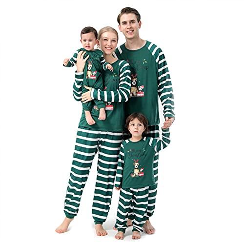 Padaleks Conjunto de 2 piezas de pijama para mujer, color verde, rayas de contraste, Navidad, familia, ropa a juego, pijama de manga larga
