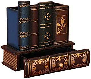 PQZATX Sostenedor Pluma De Madera Retro Multifunción Artedanía De Madera Forma De Libro Lápiz Decoración De Casa Cajones Caja De Almacenamiento De Escritorio Regalo