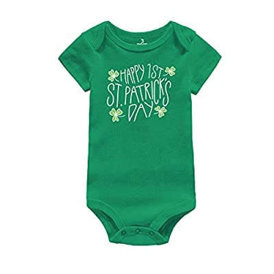 Infant Green Bodysuit 1st St. Patrick's Day Gift Baby Irish Charm Romper Newborn Jumpsuit Outfit (f-Happy 1st St. Patrick's Day, Suggest for 0-3 Months)