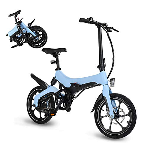 Autoshoppingcenter Bicicletta Elettrica Pieghevole Pedalata Assistita 250W 16 Pollici da Adulti Uomo Donna Mountain Bike/City Bike in Alluminio Batteria al Litio Rimovibile Freni a Disco [Stock UE]