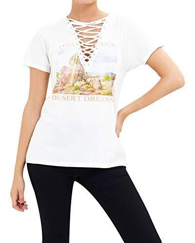 Brave Soul Camiseta de manga corta con encaje para mujer con cuello en V profundo