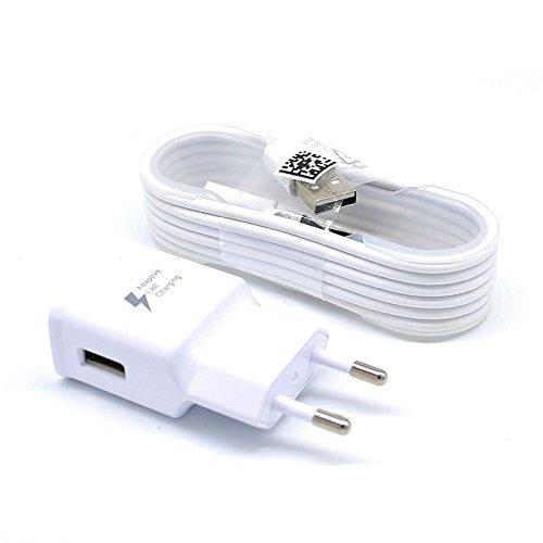 Caricatore a Muro Bianco compatibile con SAMSUNG EP-TA20EWE + Cavo Micro USB 2.0 Carica Batteria, 1,2 mt. Bianco, senza confezione, Fast Charging compatibile con Galaxy S6 S7 S6EDGE