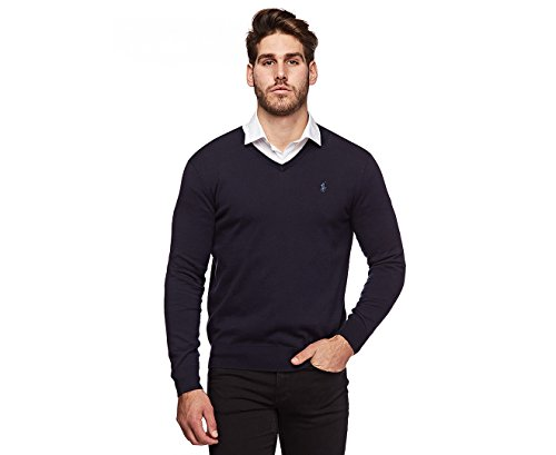 Polo Ralph Lauren Mens Pima Cotton V-Neck Sweater (Large, Navy Blue)