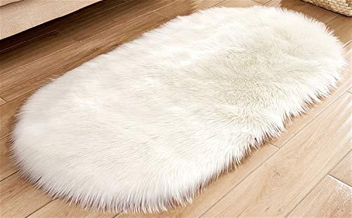 Elipse Felpa Alfombra Alfombra de baño, alfombras de baño Tufted Antideslizante Estera de Puerta de Microfibra for la Cocina/Entrada/Sala/Cuarto de baño, Blanco -40 x 60 CM/15.7x23.6 Pulgadas