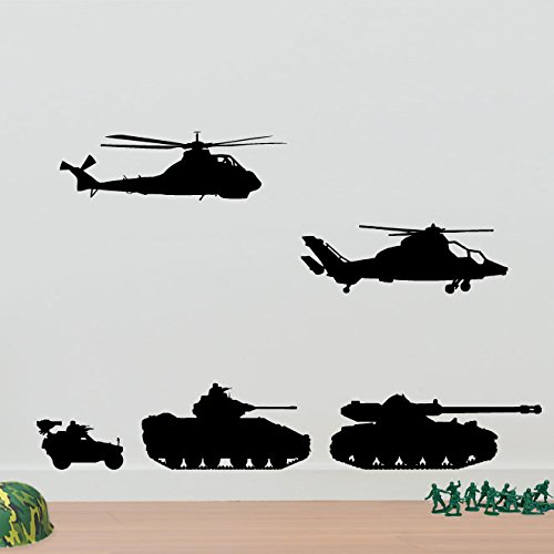 Wandaufkleber, Motiv: Soldaten/Panzer, Fenster-Aufkleber, zur Dekoration - Schwarz, Large Set