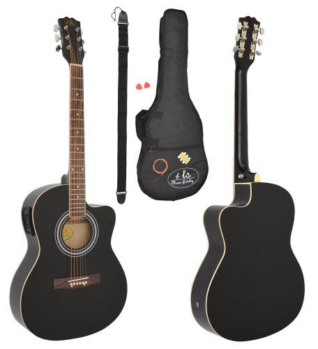 4/4 chitarra acustica western nera con pickup equalizzatore