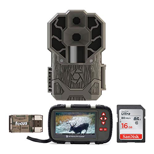 Stealth Cam DS4K 30MP 4K Trail Camera with Image and Video Viewer (Touch Screen, Compact), Memory Card and Focus USB Reader