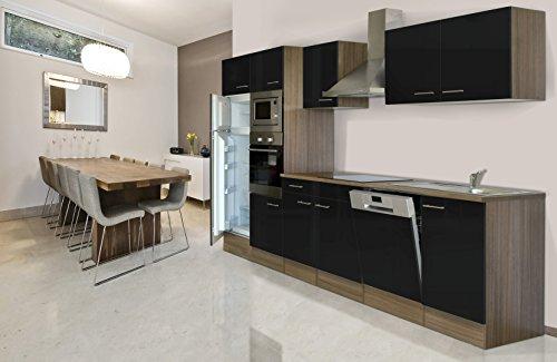respekta inbouw keuken blok 340 cm eiken York imitatie zwart oven Ceran magnetron vaatwasser koelkast