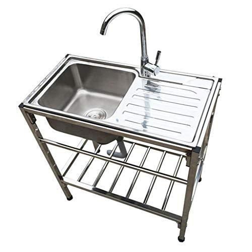 Lavelli da cucina Il lavello a Una Vasca in Acciaio Inossidabile da Cucina con Supporto per Tavolo può Lavare i Piatti e Affrontare Esterno Mobile