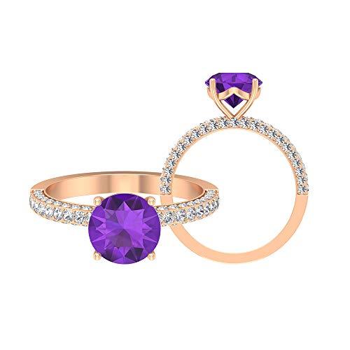 Anillo de compromiso de amatista de 2,55 quilates, D-VSSI Moissanita, anillo solitario con piedra lateral, anillo de oro (lavanda de 8 mm de laboratorio creado), oro de 10 quilates blanco