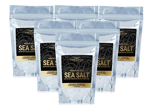 FREZZOR Mineral-Rich Flaky SEA Salt, 6-Pack, Premium Gourmet, Unprocessed Kosher Flakes, 84 Minerals & Trace Elements, 100% All-Natural, New Zealand Solar & Wind Harvested, Lab Certified, 44.4 Ounces