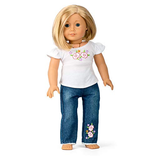 Casual T-Shirt & Jeans Doll Outfit (2 Piece Set) - Premium Handmade Clothes for American Girl & 18' Dolls - Premium Quality Apparel