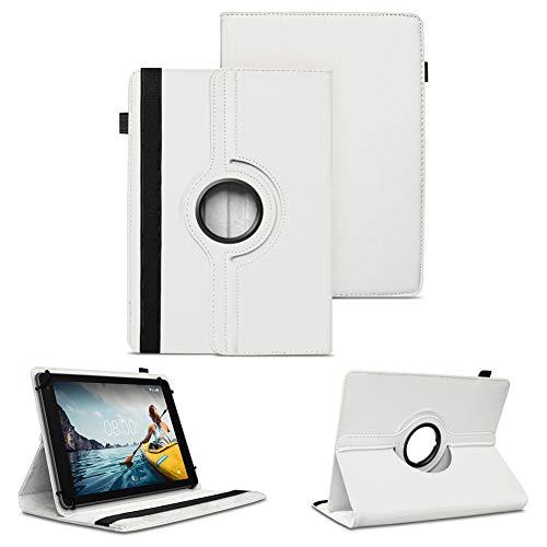 NAUC Tablet Schutzhülle kompatibel für Medion Lifetab P8912 Hülle Tasche Standfunktion 360° Drehbar Cover Universal Hülle, Farben:Weiss