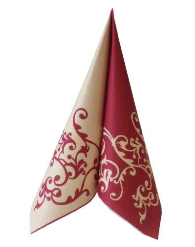 Unbekannt 50 Servietten, stoffähnlich, Airlaid 1/4-Falz 40 cm x 40 cm Ornaments Bordeaux Creme für Hochzeit Verlobung besondere Anlässe