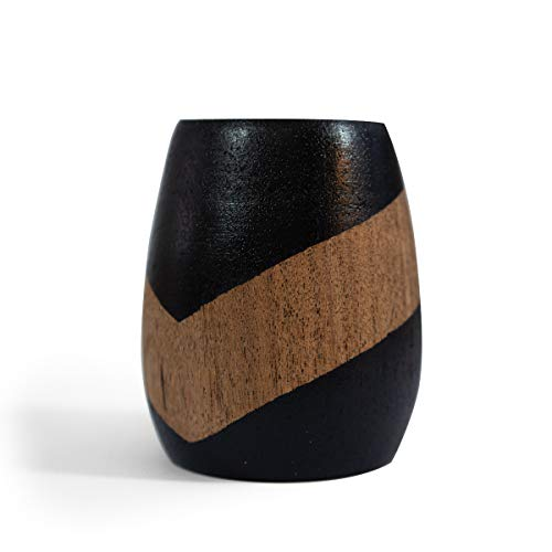 RAICES Mate Argentino de madera de algarrobo 100% artesanal, pintado y tratado a mano (NEGRO Y MADERA)