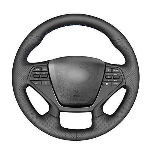YHDNCG Cubierta del Volante del Coche de Cuero Antideslizante Negro DIY, para Hyundai Sonata 9 2015-2017 Accesorios Interiores del Coche