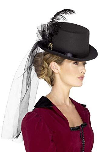 Smiffys Sombrero de copa victoriano para mujeres deluxe, Negro, con plumas, velo y broche (48413)