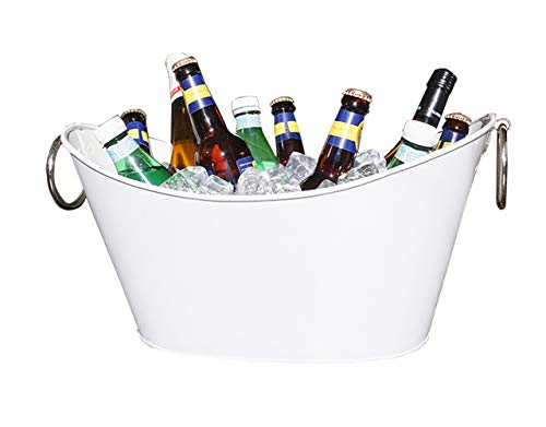 BREKX White Waved Galvanized Metal Beverage Tub, Rust-Resistant and...