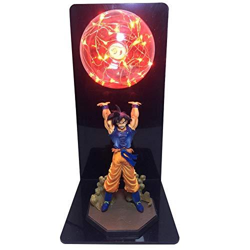 J.W. Dragon Ball Z Tischlampe Goku LED Schreibtisch Lichter Kreative Anime Nachtlampen Glas Lampenschirm Nachttisch Lichter für Kinder Geschenk Geist Bomben Dekoration Figur,Rot