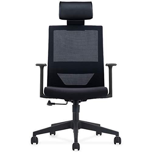 Homewit Ergonomischer Bürostuhl, Chefsessel mit Einstellbarer PU Kopfstütze, Gaming Stuhl mit Taillestütze und Wippfunktion, Höhenverstellbare Hubstange, Belastbar bis 150KG, Für Büro, Zuhause