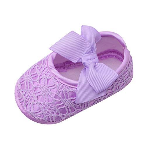 Chaussures Premier Pas Fille Nourrisson Enfant Blanc Rose,Alaso Chaussures de Bébé Baptême Chausson Semelle Souple en Fleur de Dentelle