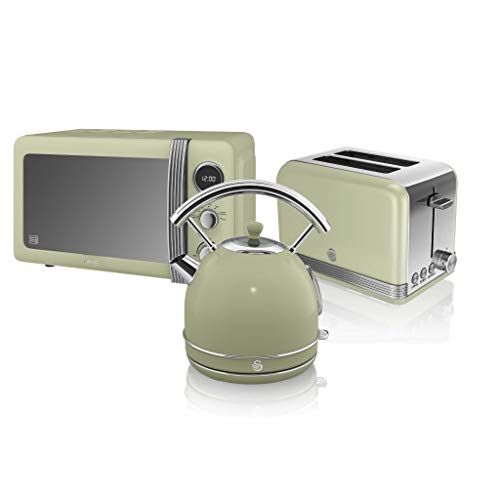 Swan, Retro Kitchen Bundle, 1.7L Dome Kettle, 2 Slice Toaster and 800W Digital Microwave, (Green)