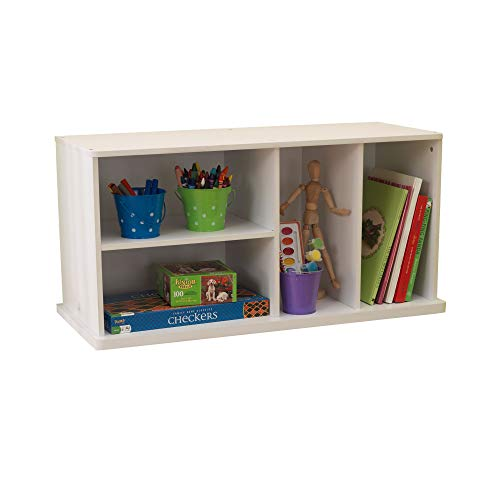 KidKraft Stackable Wooden Storage Shelving Unit with Four Compartments, Children's Furniture - White, 14179