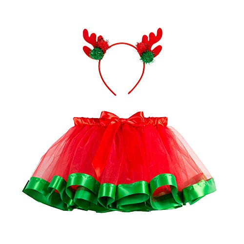 SUNTRADE Christmas Tutu Skirt Red Layered Ballet Tulle Christmas Party with Headband (M)