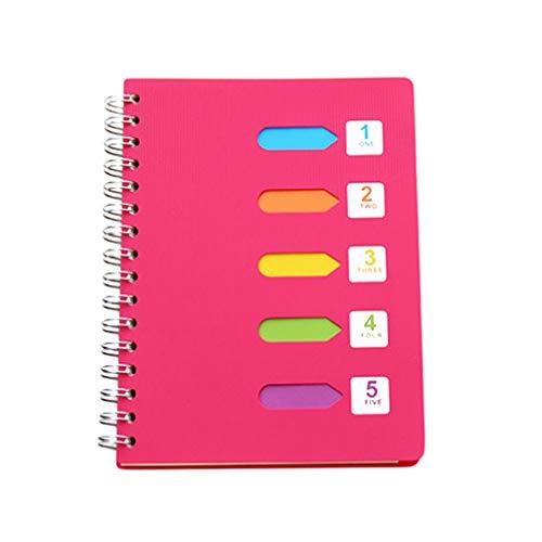 TOYANDONA Notizbuch mit Spiralbindung, A5, 16 x 20,8 cm, rosy, Hardcover, Spiralbindung, liniert mit Trennwand, für...