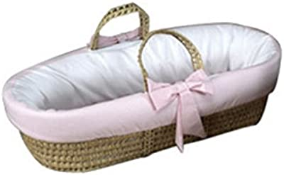 Baby Doll Bedding Gingham Trim Moses Basket, Pink