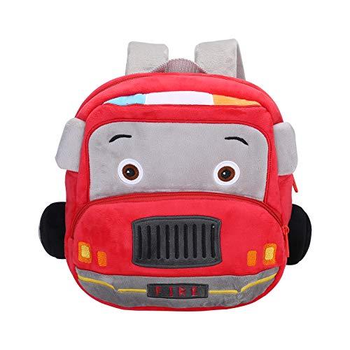Nette Kleine Kleinkind Kinder Rucksack Plüsch Tier Cartoon Mini Kinder Tasche für Baby Mädchen Junge Alter 1-3 Jahre Rotes Feuerwehrauto